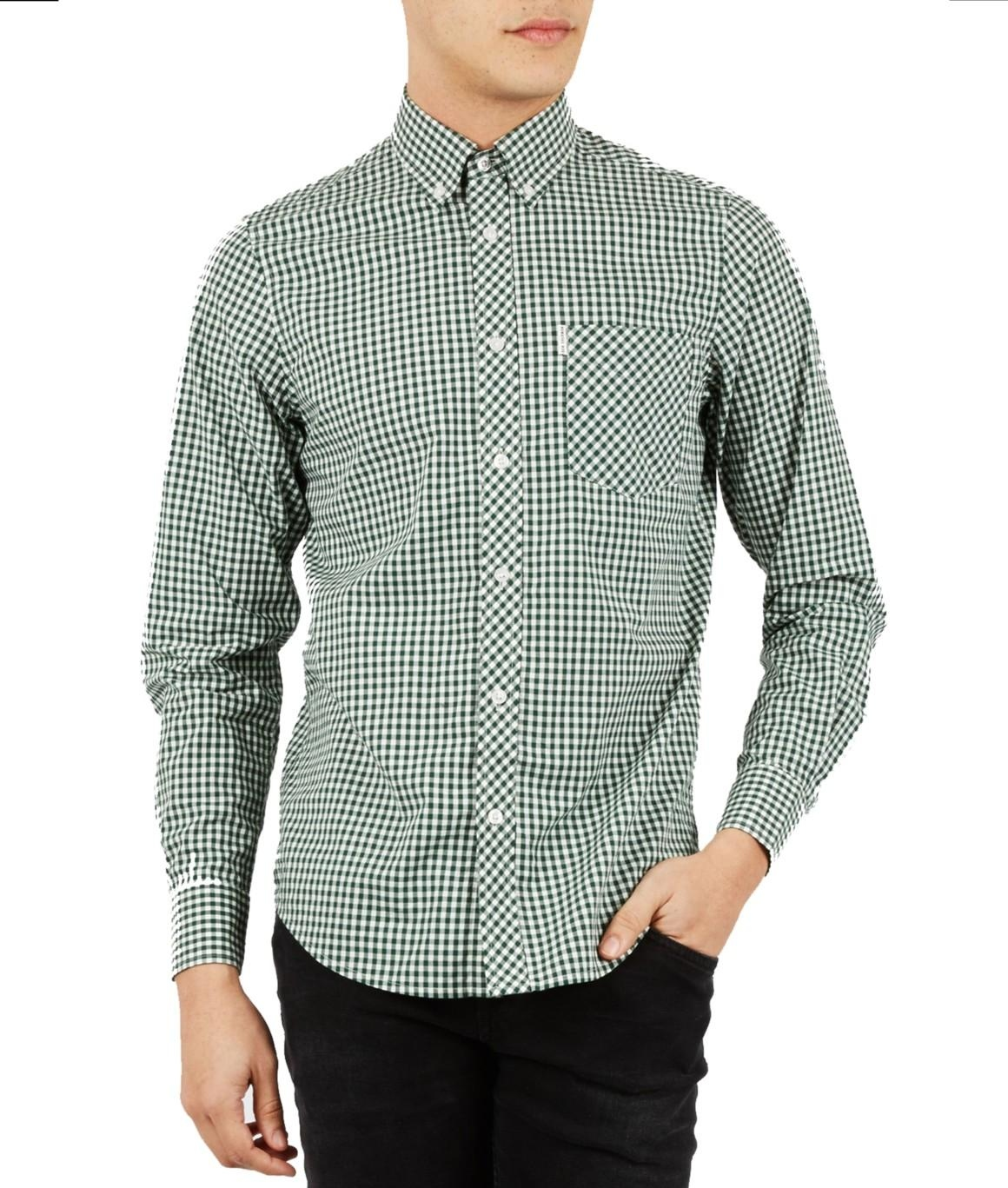 Ben Sherman, CLASSIC GINGHAM MOD FIT LS SHIRT, Forest Night, Number 3