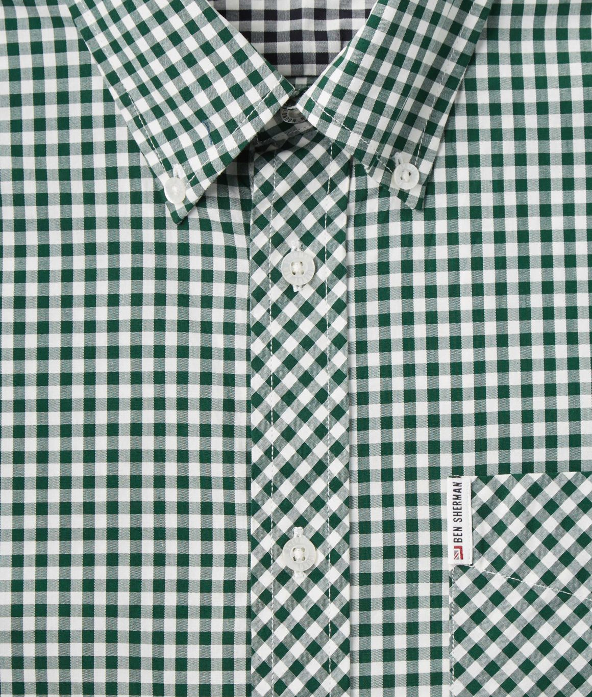 Ben Sherman, CLASSIC GINGHAM MOD FIT LS SHIRT, Forest Night, Number 2