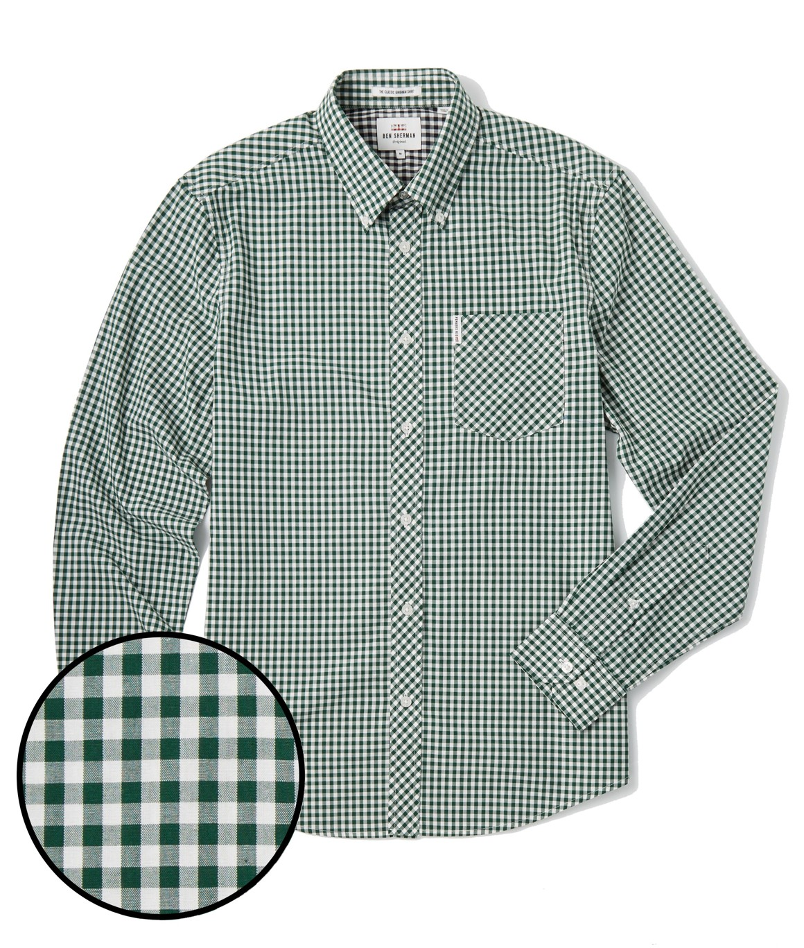 Ben Sherman, CLASSIC GINGHAM MOD FIT LS SHIRT, Forest Night, Number 1