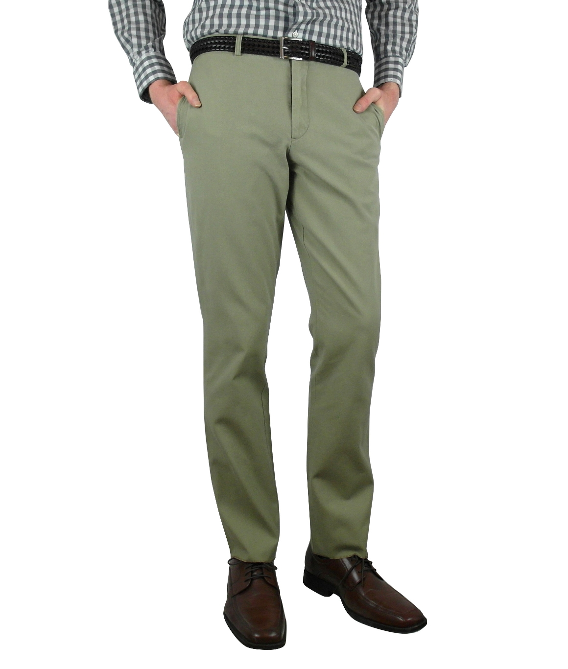 Corbin, SOLID VINTAGE WASH RETRO-FIT TROUSERS, Sage, Number 1